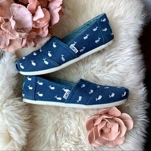 Women's TOMS Whale Embroidered Blue Flats